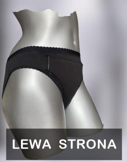 majtki na lekkie nietrzymanie moczu do prania czarne niewysokie na szarym manekinie