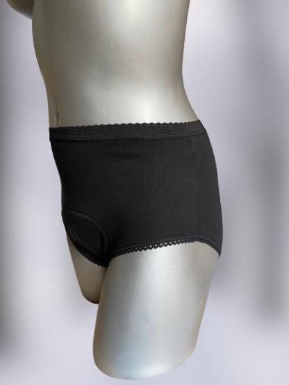 wielorazowe majtki na spore nietrzymanie moczu czarne proste głębokie na szarym manekinie