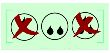 diagram z kroplami szeregujący bieliznę na nietrzymanie moczu według chłonności - dwie krople czyli bielizna na średnie nietrzymanie moczu