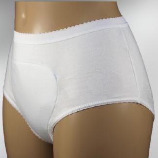 wielorazowa bielizna na nietrzymanie moczu biała damska, na manekinie